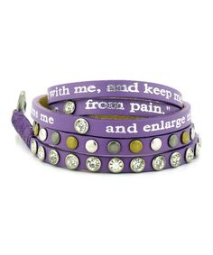 Violet & Crystal '1 Chronicles 4:10' Leather Wrap Bracelet by Good Work(s) Make A Difference #zulily #zulilyfinds