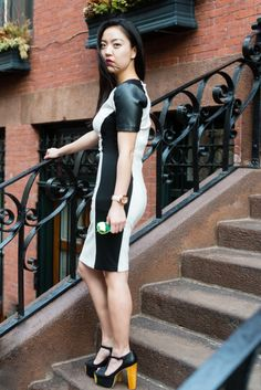 Alina | JHU Alumna Colorblock Faux-leather Pencil Dress by XOXO for Macy's Green Tint Rayban Sunglasses