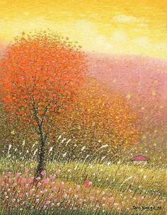 Abstract Tree Painting, Caribbean Art, Funky Art, Naive Art, Pastel Art, Whimsical Art, Tree Art, Fractal Art, Mosaic Art