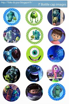 Folie du Jour Bottle Cap Images: Monsters Inc Disney Pixar free digital bottle cap images
