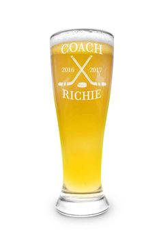 Each Pilsner Glass holds 16 oz of His/Her Favorite Brew. Hockey Coach, Hockey Mom, Hockey Teams, Hockey Players, Stars Hockey, Coach Gifts, Sports Gifts, Coaches, Cricut