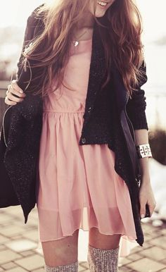Black Lapel Long Sleeve Ouch Cardigan Sweater pink dress bracelet Fashion women outfit clothing apparel style