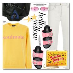 """""""Get Happy"""" by paculi ❤ liked on Polyvore featuring Topshop, Citizens of Humanity, Oliver Peoples, Suecomma Bonnie, Alice + Olivia, Gorjana, PopsOfYellow and NYFWYellow"""