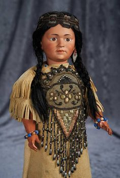"""""""Among Friends, The Billie and Paige Welker Collection"""": 41 Rare German Bisque Art Character, 1303, as Native American by Simon & Halbig"""