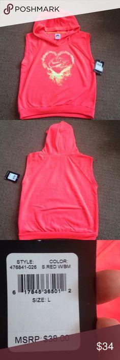 Nike SB sleeveless crop top hoodie Never worn coral Nike SB sleeveless hoodie crop top with heart decal Nike Shirts & Tops Tees - Short Sleeve