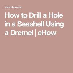 How to Drill a Hole in a Seashell Using a Dremel   eHow