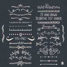 Tafel Text Divider Clip Art - Hand Drawn - EPS + PNG-Ideal Entwurf Ressource für Web- und Blog, Foto, Overlay, Briefmarken, DIY-Projekte
