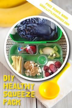 Lunchbox ideas for toddlers, preschoolers and kids of any age. Get the pouches from Amazon orhttp://littlemashies.com/ #healthy #babyfood #school #smoothie