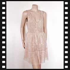 7268efff71 BCBGMaxAzaria nude coloured lace dress in size 12. In perfect condition,  only worn once
