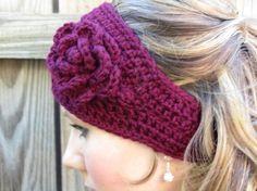 crochet head scarves | Burgundy Crochet Head Wrap | Crochet- scarves and wraps
