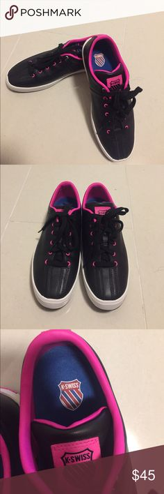 K-Swiss sneakers K-Swiss Medium Clean Classic Women's Low Black/Neon Pink. Only worn once. Like new condition. Size: 7 K-Swiss Shoes Sneakers
