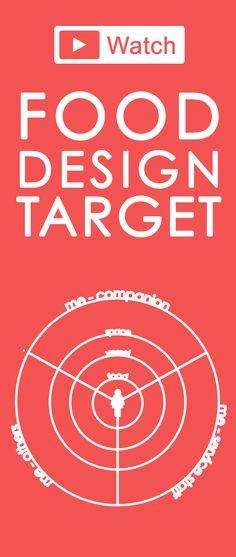 The Food Design Target! This is my Food Design tool that visualises the aspects influencing the eating experience, and those the food designers should design! Whether you're a chef creating a new dish, or whether you are a designer designing food products, or pots and pans, or entire restaurants, or cafes of food trucks, this can guide your thinking =) Watch here: http://francesca-zampollo.com/the-food-design-target-a-visualisation-of-design-opportunities/
