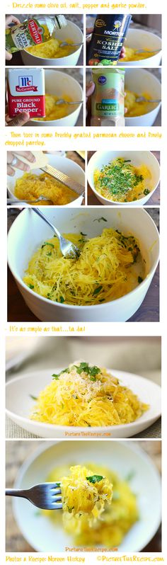 how to cook spaghetti squash. i also like to add just butter and pesto to the squash that is yummy too. I love doing this to pasta so o can't wait to try it with spaghetti squash!