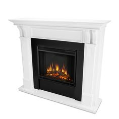 Realistic Electric Fireplace, Indoor Electric Fireplace, Electric Fireplace Reviews, Electric Fireplaces, White Fireplace, Fireplace Mantels, Mantle, Faux Fireplace, Fireplace Ideas