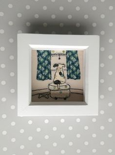 Waiting for Walkies handmade embroidered picture by Lillyblossom,  Cute dog looking out for owner. Gift idea birthday by LillyBlossom on Etsy