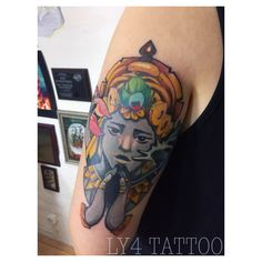 Tattoo von Katja Ly4 done at #livingillustrations in #düsseldorf #newschool #newschooltattoo #colortattoo #ly4tattoo #customdesign #customtattoo #cattattoo #neotrad #neotraditional #vishnu #krischna #vischnu #buddhist #buddismus