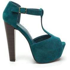 T-Strap Party Faux Suede Heels TEAL ($29) ❤ liked on Polyvore featuring shoes, heels, green, peep toe ankle strap shoes, platform shoes, thick heel shoes, teal shoes and peep toe shoes