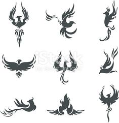 Phoenix bird stylized silhouettes icons on white background. - Tattoos Phoenix bird stylized silhouettes icons on white background. template in the form of a burning flying phoenix. The concept of growth, strength and freedom. Small Phoenix Tattoos, Phoenix Tattoo Design, Small Tattoos, Phoenix Tattoo Feminine, Rising Phoenix Tattoo, Phoenix Design, Tribal Phoenix Tattoo, Future Tattoos, Tattoos For Guys