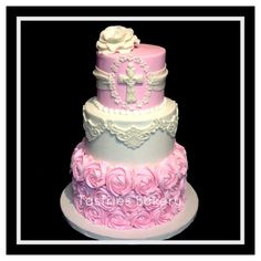 Beautiful pink and white baptism cake. Bakersfield California bakery.