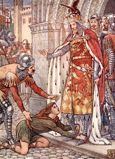 "Young Owen appeals to the King. Frontispiece by Walter Crane from ""King Arthur's Knights"" (1911)"