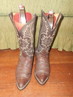 2-Tone Brown Tony Lama Men's Cowboy Boots  by jobellaswearwithal