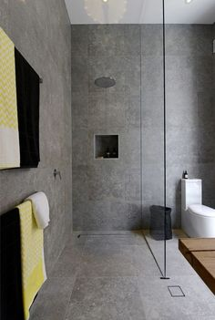"The Block: Bathrooms - Brad & Dale. Love the tiles - Beaumont Tiles ""Excellence Grey"":"
