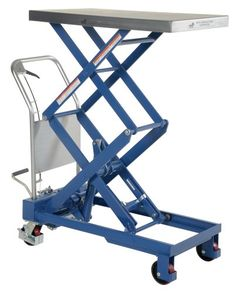 Forget those other sissy adjustable height tables; Get Back's industrial-themed scissor lift table sports a giant crank wheel handle and can be raised from a height of 26 to 44.
