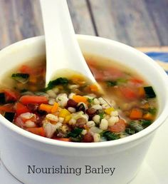#Barley #Soup - The vegetables add plenty of color and #fibre to this nourishing #broth!