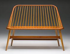 """""""Bowback Bench"""" modern Shaker Furniture - cherry with ash spindles, maple legs - designed by Jas. Becker Cabinetmaker"""