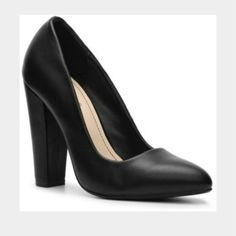 """Black pointed toe pumps Love these shoes but when I got them they were too small!  I ordered a size 7 but they fit like a 6.5.  Super cute!!  A great staple heel for your wardrobe!  Brand new in the box!  Approx 4"""" heel Shoes Heels"""