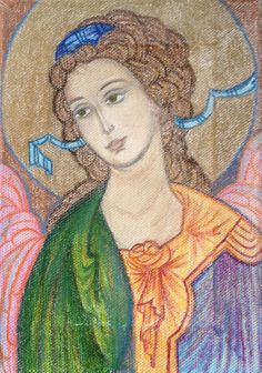 Hand painted Angel by Maria Karolidou, pastels and mixed media