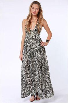 Billabong Let's Get Away Batik Print Maxi Dress