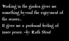 Working in the garden gives me something beyond the enjoyment of the senses. It gives me a profound feeling of inner peace. - by Ruth Stout Cottage Garden Design, Cottage Garden Plants, Cottage Gardens, Fruit Garden, Garden Works, Garden Art, Garden Quotes, Garden Signs, Landscaping Tips