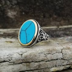 Handmade 925K Sterling Silver Mens Ring With Howlite | Etsy Jewelry Stores Near Me, Sterling Silver Mens Rings, Aquamarine Stone, Turquoise Stone, Beautiful Rings, Handmade Silver, Rings For Men, Etsy, Pretty Rings