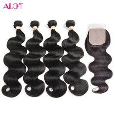 8A Grade Peerless Peruvian Virgin Hair Body Wave With Silk Base Closure 4 Hair Bundles With Closure Soft Human Hair With Closure