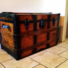 Refinished antique trunk.