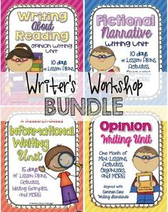These writing units will take you through a year of narrative, informational, and opinion writing in the writer's workshop. Writing units include detailed lesson plans, suggestions for anchor charts, graphic organizers, and student-friendly checklists designed to provide a variety of ways to teach and practice writing skills and structures throughout the year.