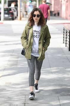 Cool customer:Lily Collins proved she isn't high maintenance as she stepped out in LA in ...