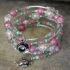 Beaded Memory Wire spiral Wrap Bracelet HIGH TEA Pearl and