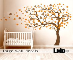 Autumn Тree Decal  Wind Tree Sticker  Kids Wall by LargeWallDecals, $96.00