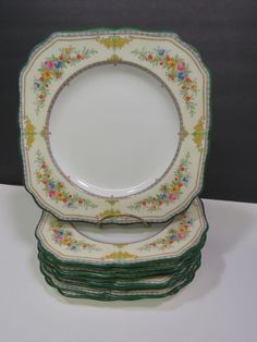 """9 Antique MINTON Stanwood Square Lunch Plates 8.5"""" Green Trim B1117 1928 Floral #MINTON China Dinnerware, Plate Sets, Lunch, Plates, Antiques, Tableware, Floral, Green, Ebay"""