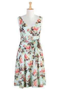 Floral Digital Print Dresses, Sash Tied Spring Dresses Shop women's designer clothing - Cocktail Dress, Short Dresses, and more | eShakti