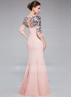 Trumpet/Mermaid Scoop Neck Floor-Length Chiffon Evening Dress With Ruffle Sequins (017041144) - JJsHouse