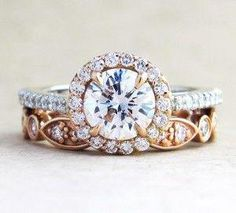 rose gold round cut wedding engagement ring #engagementring Halo Diamond Engagement Ring, Designer Engagement Rings, Vintage Engagement Rings, Wedding Engagement, Wedding Bands, Wedding Ring, Diamond Rings, Gold Rings, Wedding Ceremony