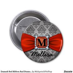 Damask Red Ribbon And Diamond Monogram And Name 2 Inch Round Button