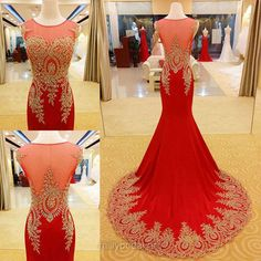 Trumpet/Mermaid Red Prom Dresses,Scoop Neck Chiffon Long Evening Dresses, Court Train Beading Formal Party Gowns