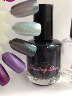 Name: B- (censored for the listing) I'm not an angel  Description: Each Darling Diva polish for this event is paired with her new amazing top coat. Black with shifting micro shimmer in green shift