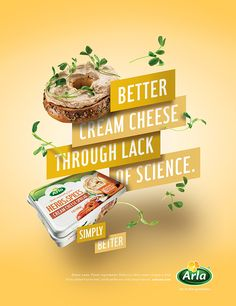 poster and digital campaign introducing Arla cream and sliced cheese to the US market. Food Advertising, Creative Advertising, Advertising Design, Food Poster Design, Ad Design, Flyer Design, Design Ideas, Ads Creative, Creative Posters