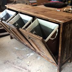 """14 Likes, 2 Comments - Marjorie Friedel (@rnrbarnwood) on Instagram: """"Landry table with tilt out hampers by RnR #laundryroom #keepittidy #custommade #laundryroom…"""""""