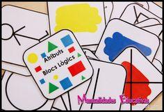 Manualidades Educativas: Tarjetas Atributos Bloques Lógicos para Imprimir Gratis Room Maker, Logic Games, Montessori Math, Grande Section, Free Frames, First Grade Math, Math For Kids, Reggio Emilia, Teaching Math
